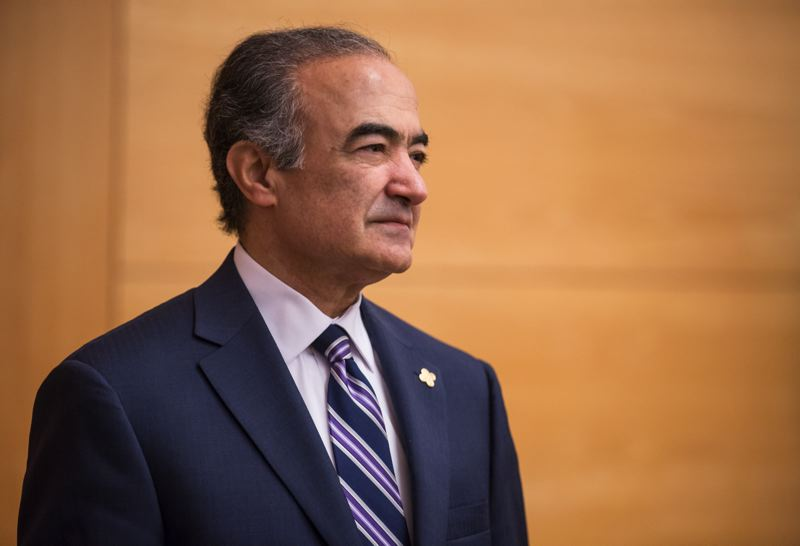 TRIBUNE FILE PHOTO - Portland State president Rahmat Shoureshi during a campus tour in 2017.