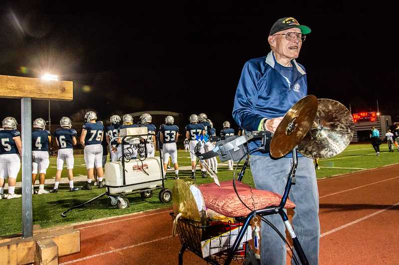 PHOTO CURTESY OF GARY TETZ - Frank Walsh played the cymbals during the Oct. 19 football game at Wilsonville High School.