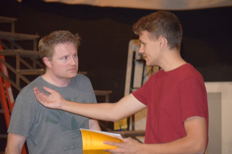 PHOTO BY: LISA DANIELS - La Salle Prep drama teacher Michael Shelton (left) has been working with students such as senior Tarn Bregman to put on 'Our Town,' which Shelton calls a story 'about all of us.'