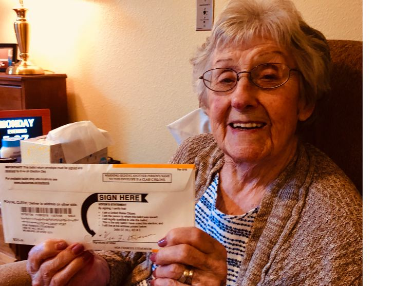 SUBMITTED PHOTO - Vida Francis (Becker) Stevenson, who turns 100 years old on Tuesday, Nov. 6 (Election Day) mailed in her ballot on Oct. 22.