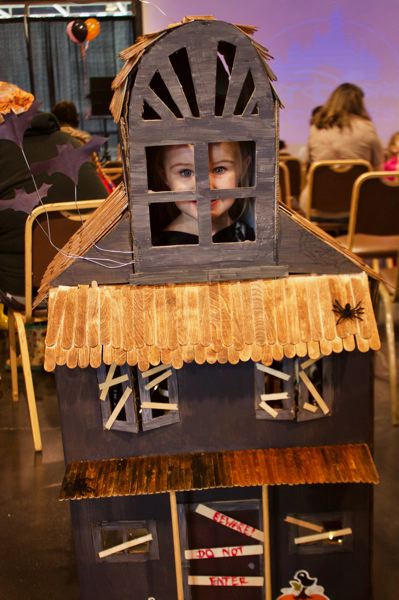 OUTLOOK PHOTO: CHRISTOPHER KEIZUR - Brooklynn, 4, of Gresham, is dressing up as a haunted house this year, thanks to an assist from her parents.