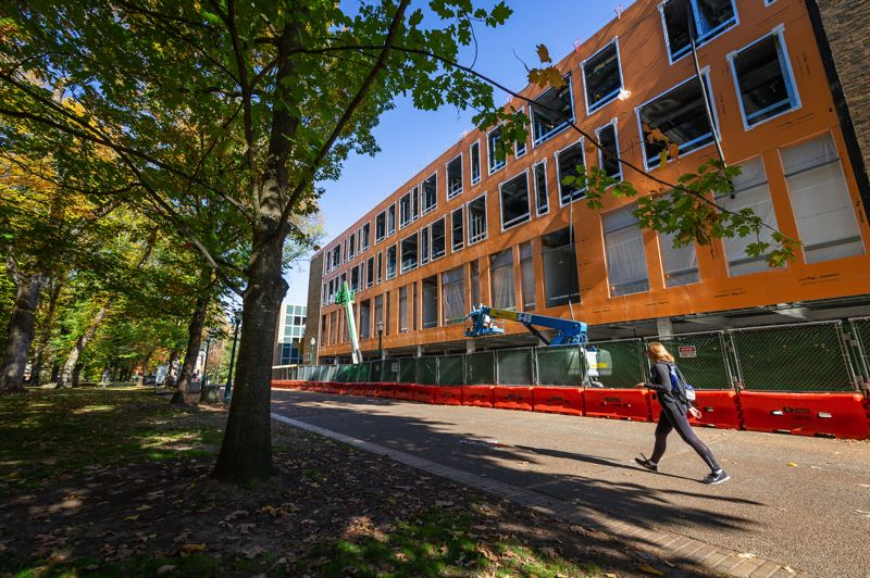 PAMPLIN MEDIA GROUP: ADAM WICKHAM - Neuberger Hall under construction on PSU campus