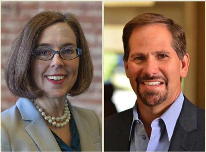 FILE PHOTO - Oregon Gov. Kate Brown and state Rep. Knute Buehler