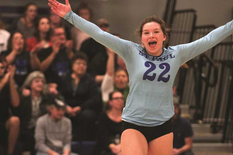 PHIL HAWKINS - St. Paul senior liberto Emma Connor celebrates a point in the Buckaroos 3-0 win over Crane in the Second Round of the 1A Volleyball State Playoffs on Saturday.