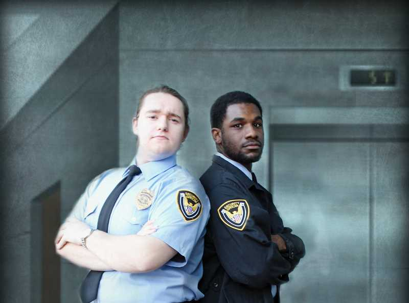 CONTRIBUTED PHOTO: CLACKAMAS COMMUNITY COLLEGE - Matt Cornett plays Jeff and Crishawn West plays William in Clackamas Community Colleges production of Lobby Hero. The show opens on Thursday, Nov. 8.