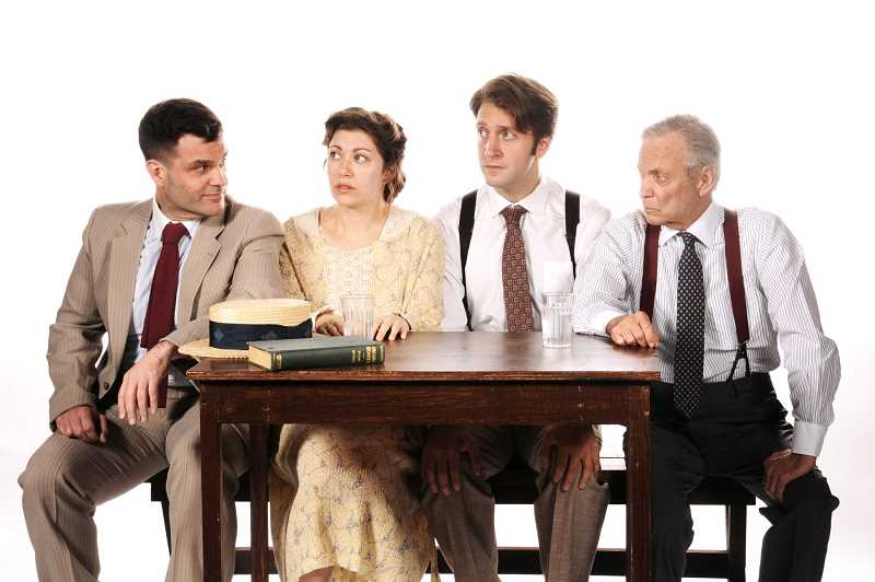 From left are Ian Goodrich as K.E. Hornbeck, Olivia Weiss as Rachel Brown, Jim Vadala as Bertram Cates, and Allen Nause as Henry Drummond in Inherit the Wind at Lakewood Theatre Company through Dec. 9.