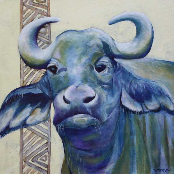 Jan Rimermans painting of a Cape waterbuffalo will be part of the Essence of Africa exhibit.