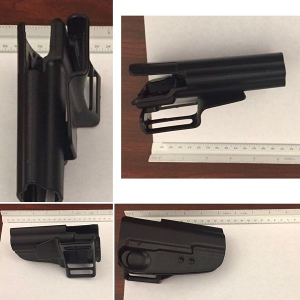 PPB PHOTOS - Portland Police released these photos of a black holster they claim David Huntley used to simulate a firearm.