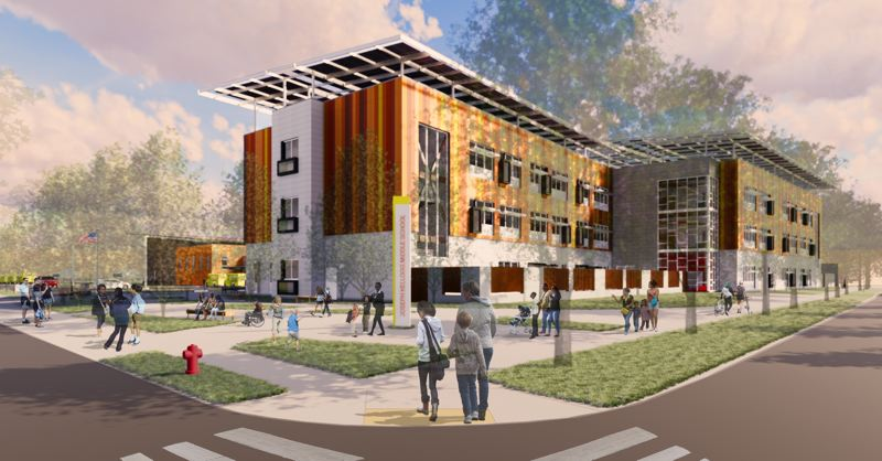 COURTESY: PORTLAND PUBLIC SCHOOLS - An architectural rendering of Kellogg Middle School by Oh Planning + Design. The new school will open in Southeast Portland in 2021.