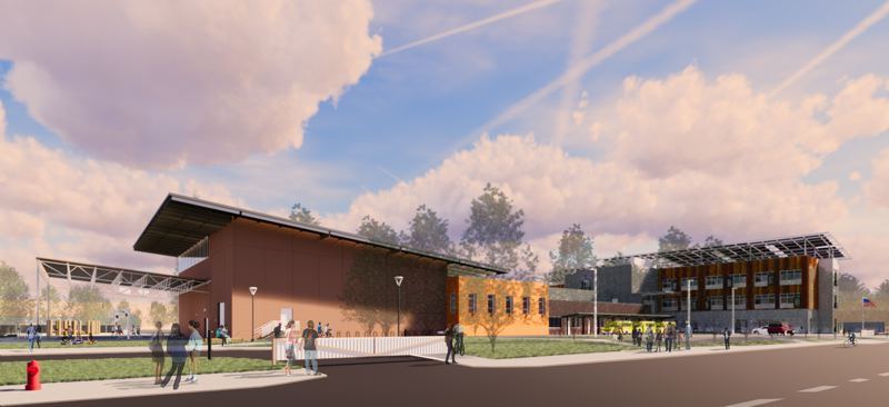 COURTESY: PORTLAND PUBLIC SCHOOLS - An architectural rendering of Kellogg Middle School by Oh Planning + Design. This view is from Southeast 69th Avenue and Franklin Street.