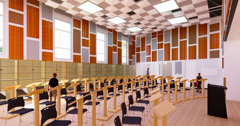 COURTESY: PORTLAND PUBLIC SCHOOLS - An architectural rendering of the new music room in Kellogg Middle School by Oh Planning + Design.