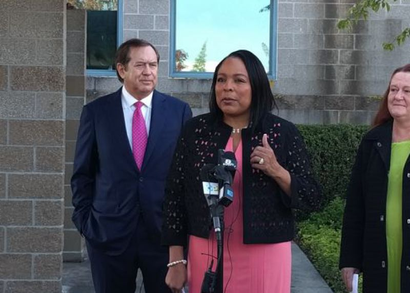 PORTLAND TRIBUNE FILE PHOTO - Multnomah County Commissioner Loretta Smith with Wapato Jail owner Jordan Schnitzer at a press conference at the North Portland facility earlier thisyear.