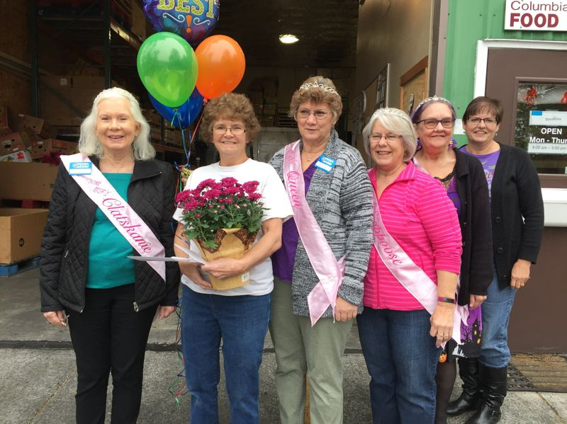 RSVP PHOTO - Pictured left to right: My Fair Lady Princess Jeanne Kangas, Schlaitzer, MFL Queen Carla Bodenhamer, Princesses Sharon Brown and Patty St. John, and Rennee Shelby of Columbia Pacific Food Bank.