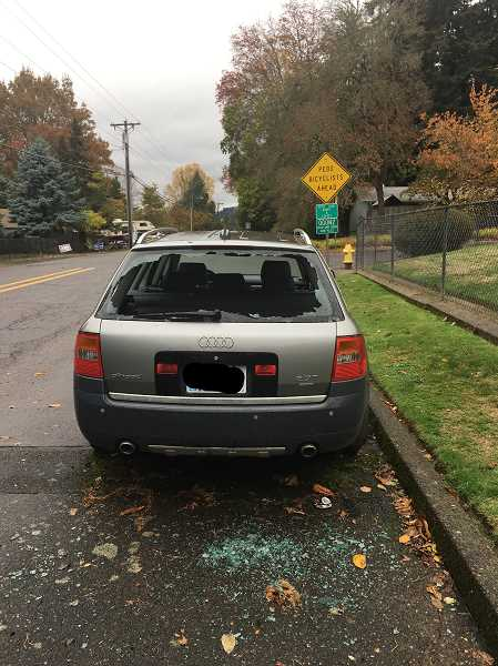 SUBMITTED PHOTO - Police estimated that three cars suffered thousands of dollars in damage after pumpkins were smashed on them Tuesday, Oct. 30.