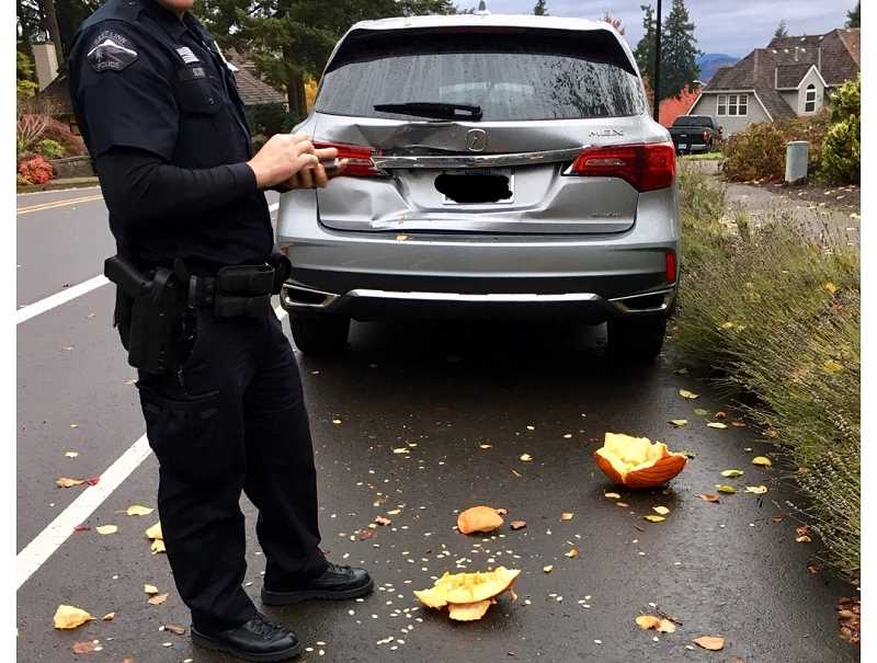 SUBMITTED PHOTO - Police suspect the pumpkins were thrown from a moving car.