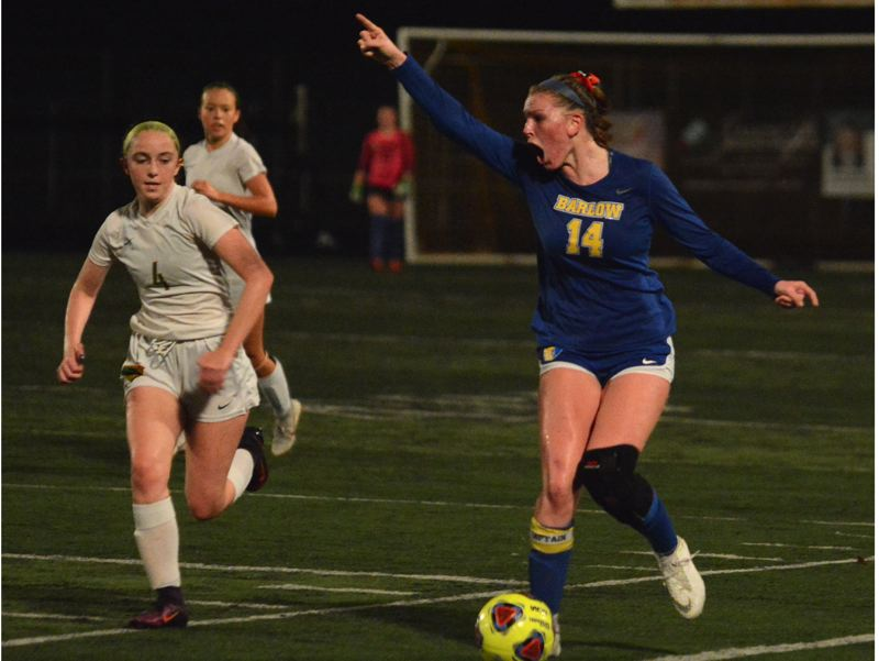 OUTLOOK PHOTO: DAVID BALL - Barlow senior Hannah Rispler directs traffic while bringing the ball across midfield during the Bruins 2-0 playoff win over Cleveland on Wednesday.