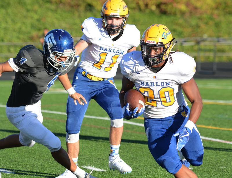 OUTLOOK PHOTO: DAVID BALL - Barlow running back Jobi Malary earned his third straight MHC rushing title after last week's 363-yard, seven touchdown performance.