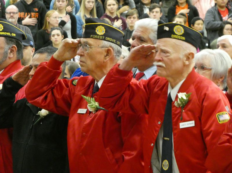 COURTESY PHOTO - The annual Veterans Day assembly at Forest Grove High School draws in a huge crowd, with more than 100 veterans and their families invited.