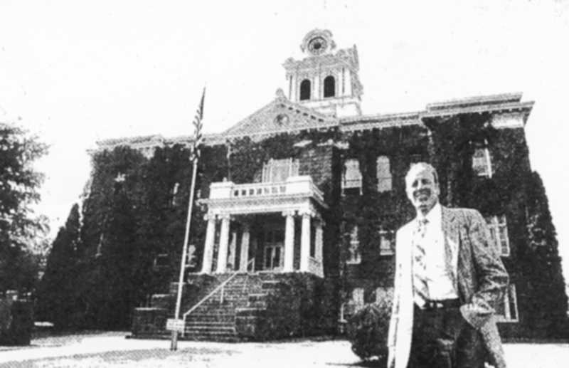 PHOTO COURTESY OF BOWMAN MUSEUM  - Crook County Judge Dick Hoppes beams with pride at bellwether status in this 1988 photo.
