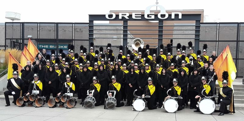 PHOTO COURTESY OF BECKY WASHBURN - The St. Helens High School marching band and color guard, pictured here following an Oct. 27 state championship performance.