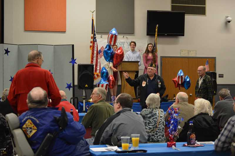 SPOTLIGHT FILE PHOTO - The Scappoose High School Annual Veterans Breakfast, as seen in this 2017 file photo, this year is Friday, Nov. 9, from 9 to 11 a.m. in the cafeteria.