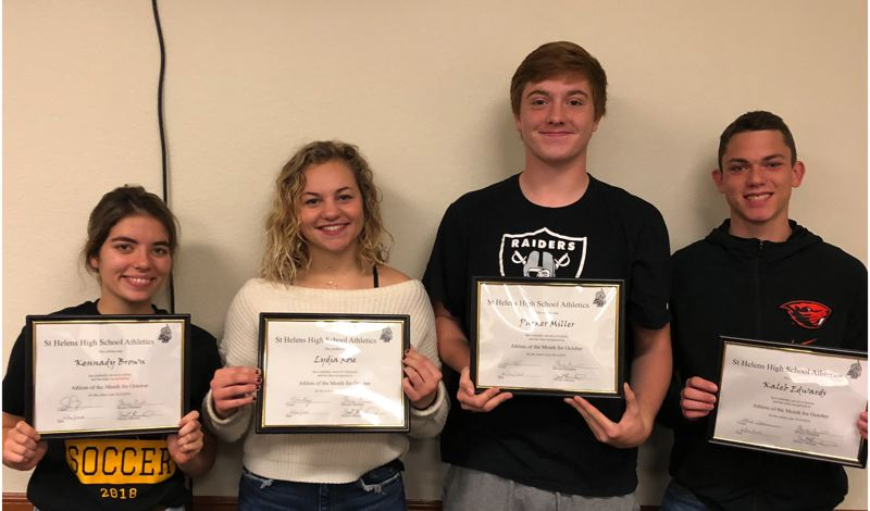 COURTESY: ST. HELENS SPORTS BOOSTER CLUB - Here are the St. Helens Sports Booster Club high school athletes of the month for October: (from left) Kennady Brown (soccer), Lydia Rose (volleyball), Parker Miller (football) and Kaleb Edwards (soccer).