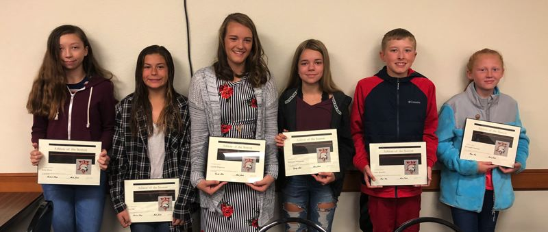 COURTESY: ST. HELENS SPORTS BOOSTER CLUB - Here are the St. Helens middle school athletes of the month: (from left) Ayla Clark, Ava Eib, Lyndie Ridgeway, Makayla Tolleshaug, Tyler Mauldin and Savannah Augustus.