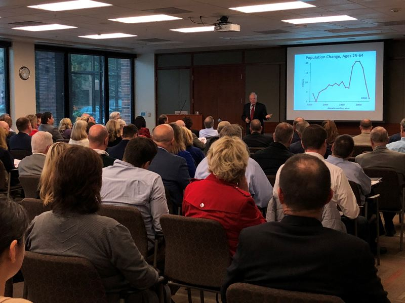 COURTESY AMBER WHITE/BUCKLEY LAW PC - While economist Bill Conerly, who recently spoke at the 2018 Kruse Way Fall Economic Forum, says he expects Portlands economy will hold steady in 2019, he also recommends businesses have a contingency plan in place in case of a slowdown.