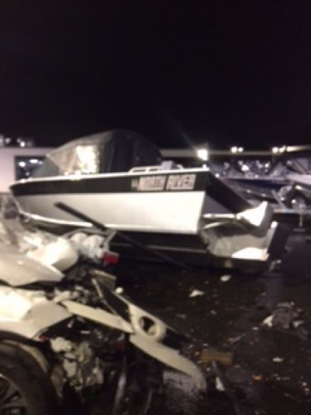 CONTRIBUTED PHOTO: CLACKAMAS COUNTY SHERIFF'S OFFICE - There was extensieve damage caused at the Gladstone boat dealership on Thursday, Nov. 1