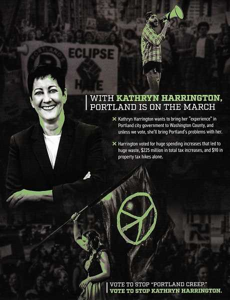 The ad features a blurred image of a swastika in the background, and prominently displays several Portland protests.