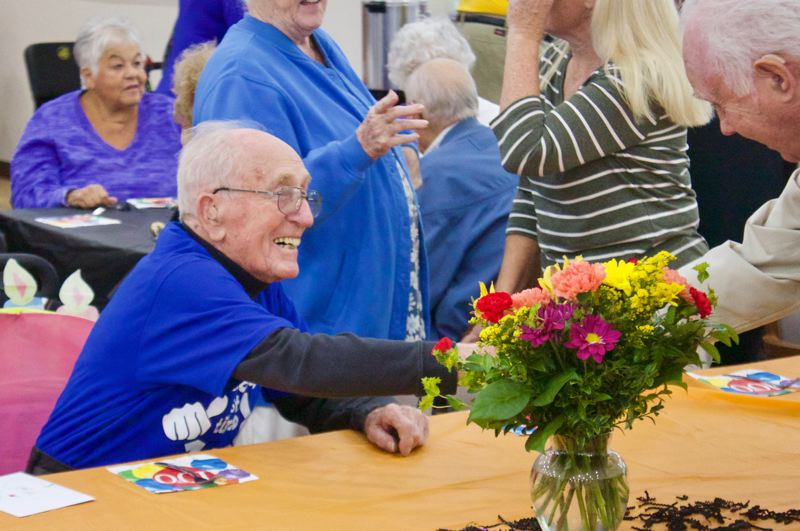 OUTLOOK PHOTO: CHRISTOPHER KEIZUR - Russ Sichley, 100, celebrated his milestone birthday Monday, Oct. 29, with loved ones.