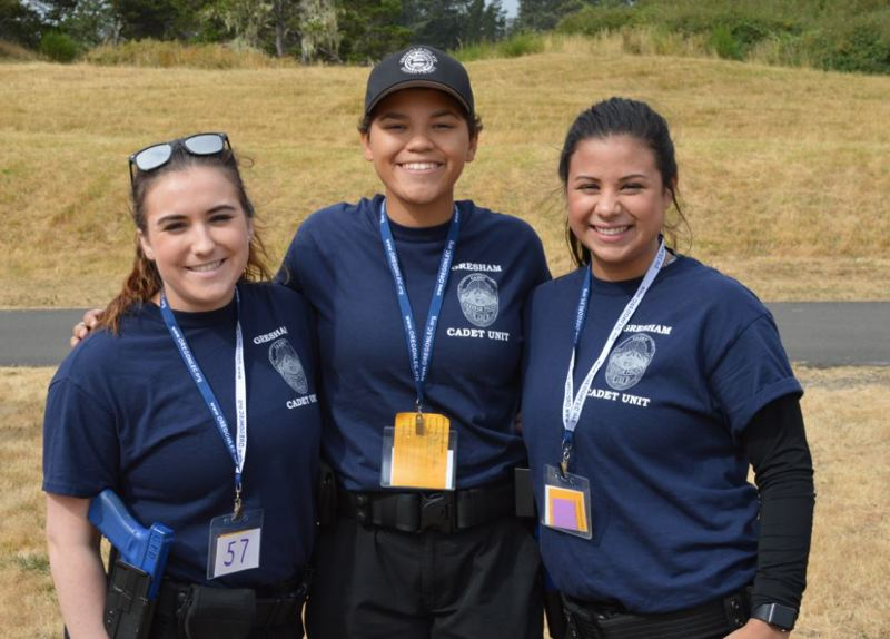 CONTRIBUTED PHOTO: GRESHAM POLICE DEPARTMENT - From left, Gresham Cadet Lt. Sarah Seever, Cadet Sgt. Jordan Bush, and Cadet Sgt. Sarah Vongdeuane