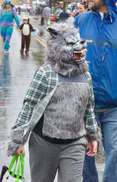 OUTLOOK PHOTO: CHRISTOPHER KEIZUR - The wolfman prowled the streets of Gresham on Halloween.