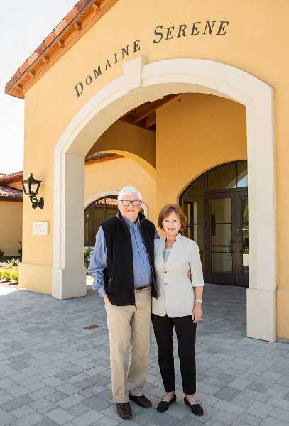 SUBMITTED PHOTO - Grace and Ken Evenstad, owners of Domaine Serene winery and vineyards, received the 2018 Distinguished Service Award from Wine Spectator.