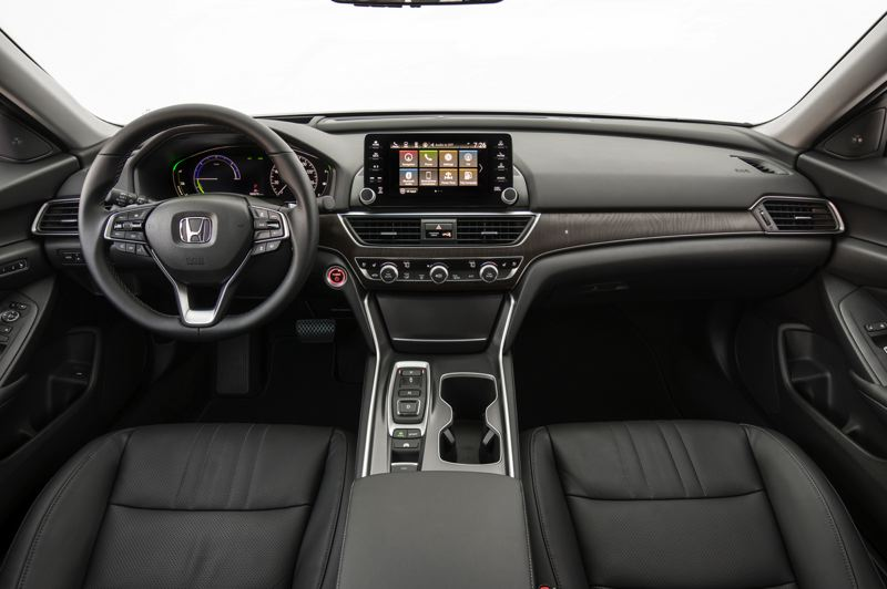HONDA NORTH AMERICA - The interior of the 2019 Honda Accord Hybrid is roomy enough for five adults and features contemporary styling and advanced technologies.