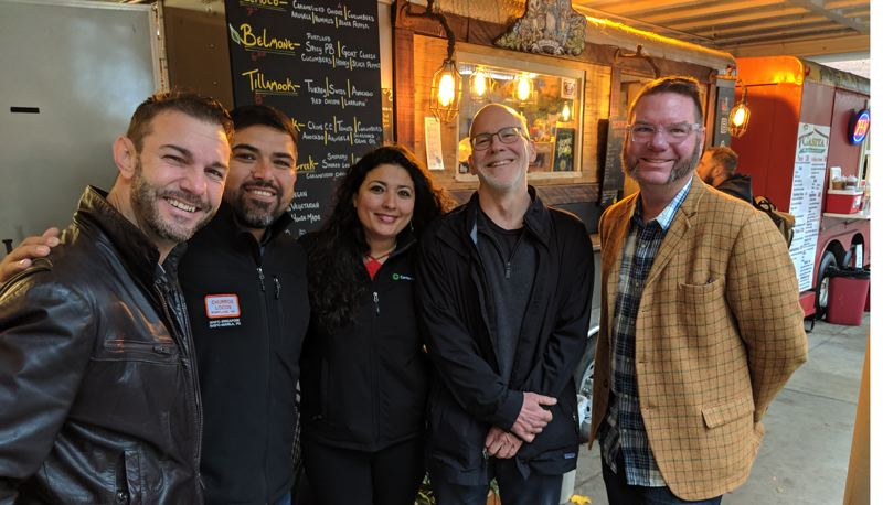 PAMPLIN MEDIA GROUP: JOSEPH GALLIVAN - (L-R) Todd Edwards owner of Ole Latte Coffee, Daniel Huerta and Isabel Sanchez of Churros Locos, design consultant Randy Gragg, and food writer Brett Burmeister, after presenting the Culinary Corridor concept at City Hall on Oct. 31, 2018.