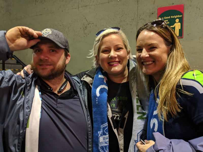 "PAMPLIN MEDIA GROUP: JOSEPH GALLIVAN - (l-r) German Sand, Mariah Sand and Shanelle Hannigan, Sounders season ticket holders. ""We started really good, but we lost control,' said German."