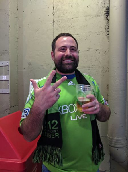 PAMPLIN MEDIA GROUP: JOSEPH GALLIVAN - Sounders fan John Criscione from Seattle said 'I think no one's stopping Ruidiaz right now, no one has the answer for him, him and Lodero are actually on fire.' He added, making what he called the Peruvian hand gesture for three, 'And I think Ruidiaz hattrick.