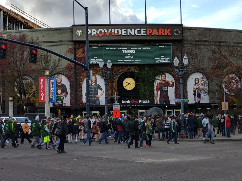 PAMPLIN MEDIA GROUP: JOSEPH GALLIVAN - A stopped clock is right twice a day. Could Seattle build on their narrow September win at Providence Park  with another in the playoffs? Or would Portland put the clock back to 2016 and send the Sounders packing? Fans head into the 2.30 kick off Sunday had their opinions.