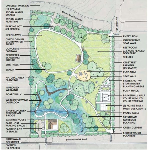 SUBMITTED PHOTO - A master plan for the Tyrone S. Woods Memorial Park includes an open lawn area, playground, picnic shelter, boardwalk, walking path and off-leash dog park.