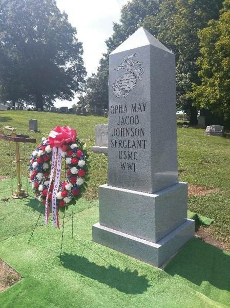 SUBMITTED PHOTO - Attendees at the 2018 WMA national convention dedicated this new grave marker to Opha May Johnson, the first woman Marine, who joined in 1918.