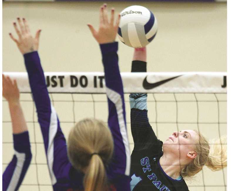 PHIL HAWKINS -- WOODBURN INDEPENDENT - Conference Player of the Year Isabelle Wyss was a unanimous selection to the All-Tournament First Team for the 2018 1A State Champion St. Paul Buckaroos volleyball team.