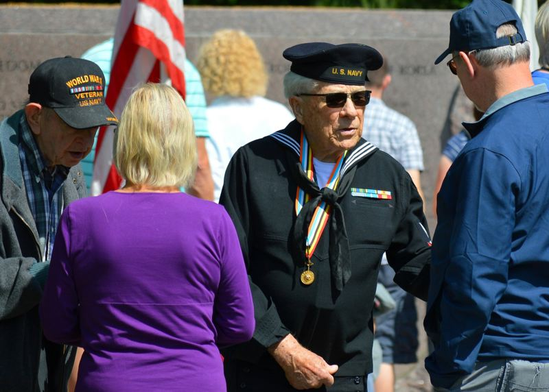 FILE PHOTO - Veterans from many wars and branches of the armed forces attend a Memorial Day service in Wilsonville in 2016.