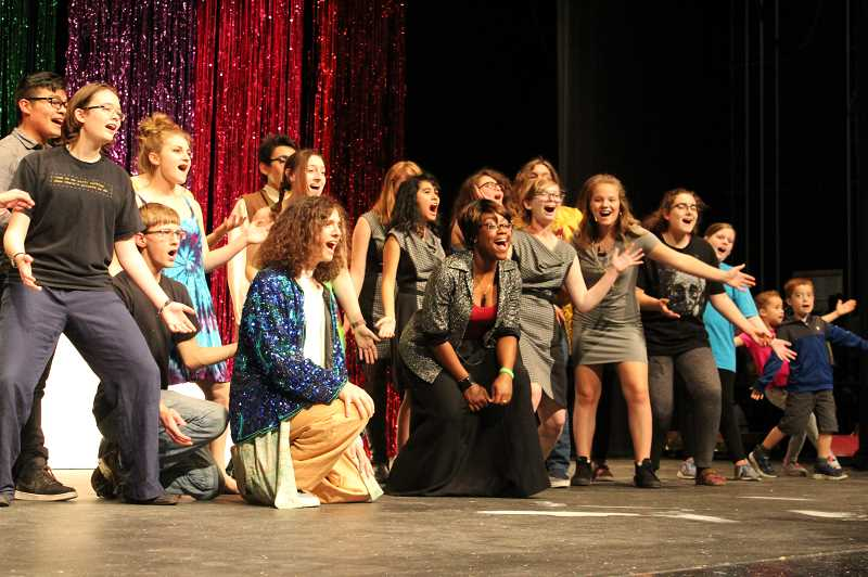 STAFF PHOTO: JANAE EASLON - The cast and crew of Forest Grove High School's 'Joseph and the Amazing Technicolor Dreamcoat' meet after school for a dress rehearsal in the school's auditorium on Nov. 1.