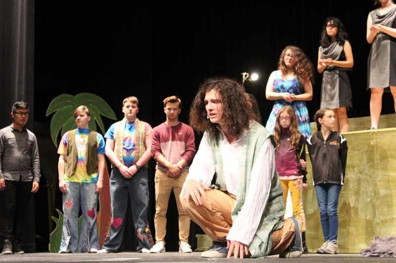 STAFF PHOTO: JANAE EASLON - Jordan Di Nocenzo, a senior, plays Joseph in the Forest Grove High School's production of 'Joseph and the Amazing Technicolor.'