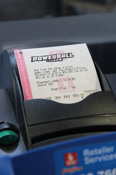 COURTESY OREGON LOTTERY - A Powerball lottery ticket is shown here.