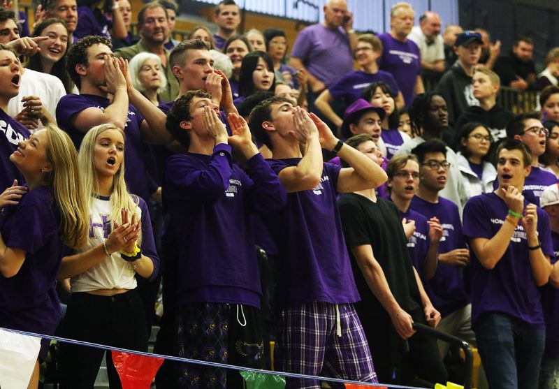 TIMES PHOTO: DAN BROOD - The Horizon Christian volleyball team had strong support during Friday's state tournament quarterfinal match.