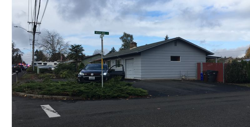 PHOTO COURTESY: OCPD - The scene of the suspect's crash at the intersection of Warner Parrott Road and Woodlawn Avenue in Oregon City.