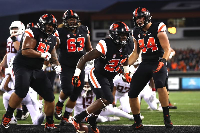 TRIBUNE PHOTO: JAIME VALDEZ - True freshman Jermar Jefferson says it feels good to be mentioned already as in the class of former Oregon State running backs, such as Ken Simonton, Steven Jackson, Yvenson Bernard and Jacquizz Rodgers.