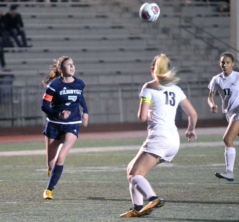 SPOKESMAN PHOTO: TANNER RUSS - Senior Teagan McNamee had the only Wilsonville goal of the 2018 postseason against Crescent Valley.